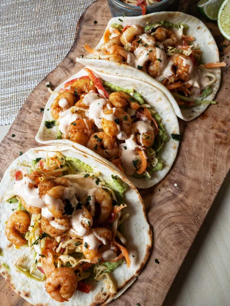Prawn Tacos with red pepper slaw