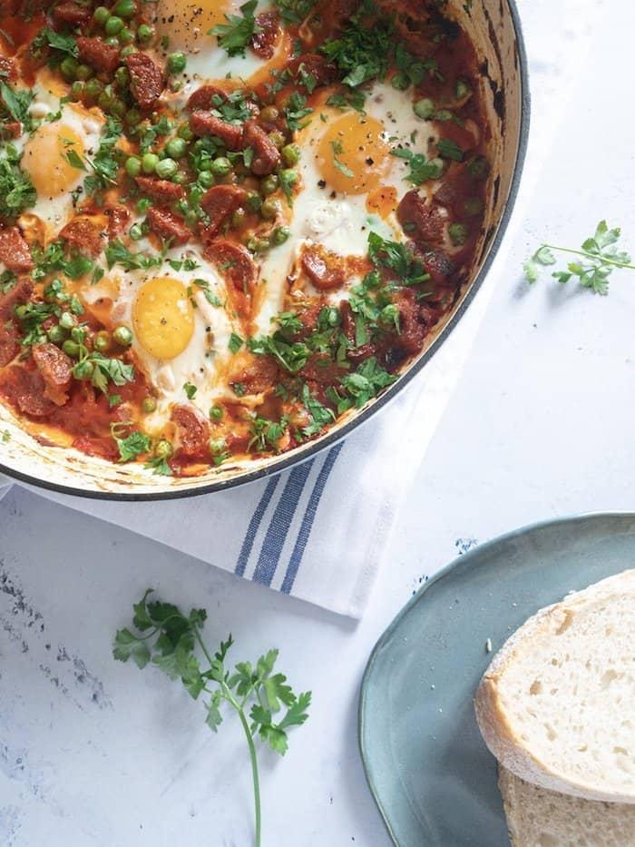 Flamenco Eggs - Spanish Inspired baked eggs