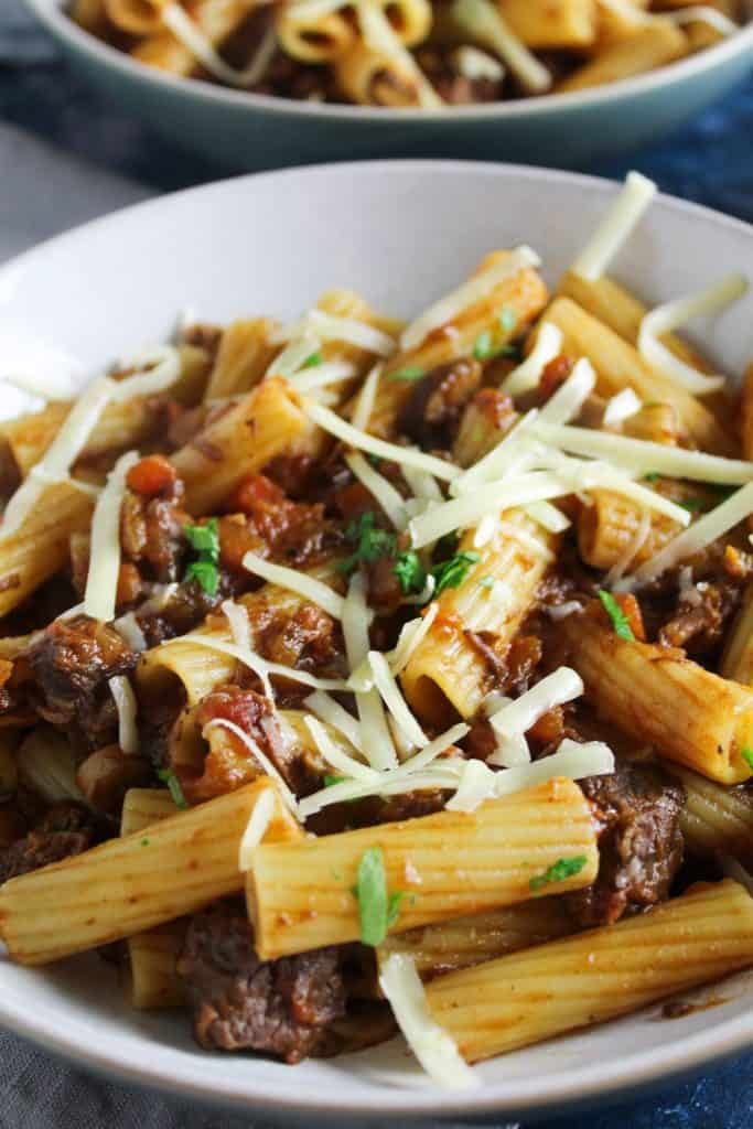 Hearty slow cooked beef and mushroom ragu is the perfect lazy weekend dinner. Cooked at a low heat over 4 hours, it comes out bursting with rich flavour.
