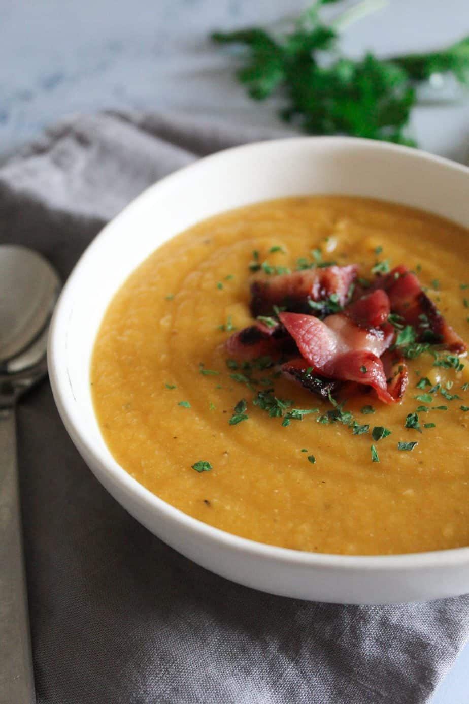 This Red Lentil soup is a big bowl of warmth and comfort. It's so easy to make, thick and satisfying with a hearty bite of bacon, and full of healthy veggies.