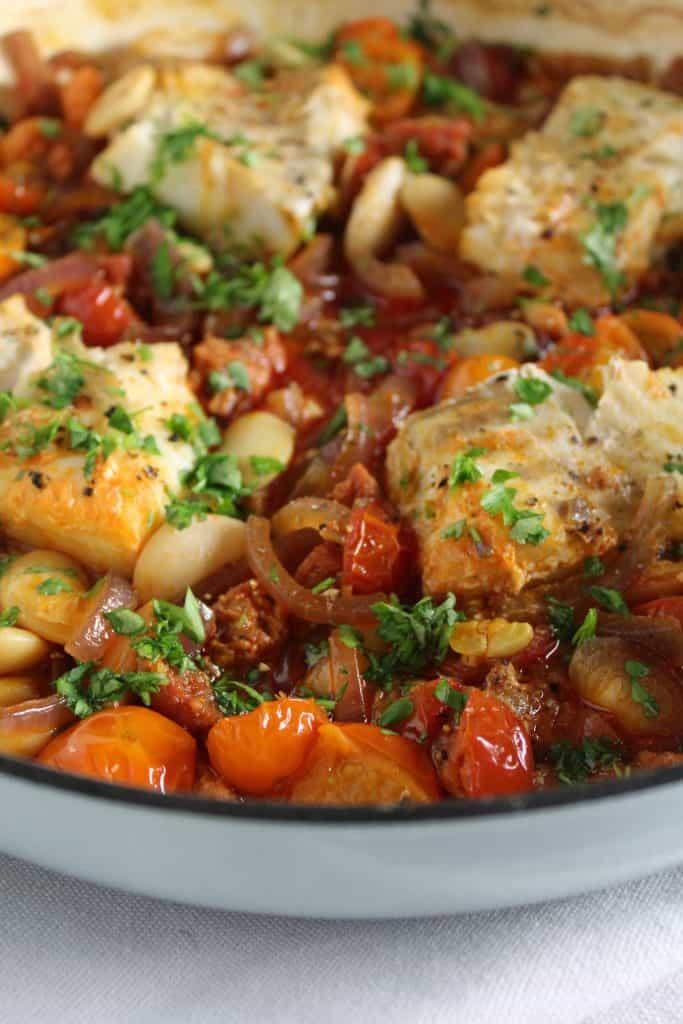 cod and chorizo traybake with tomato and lima beans