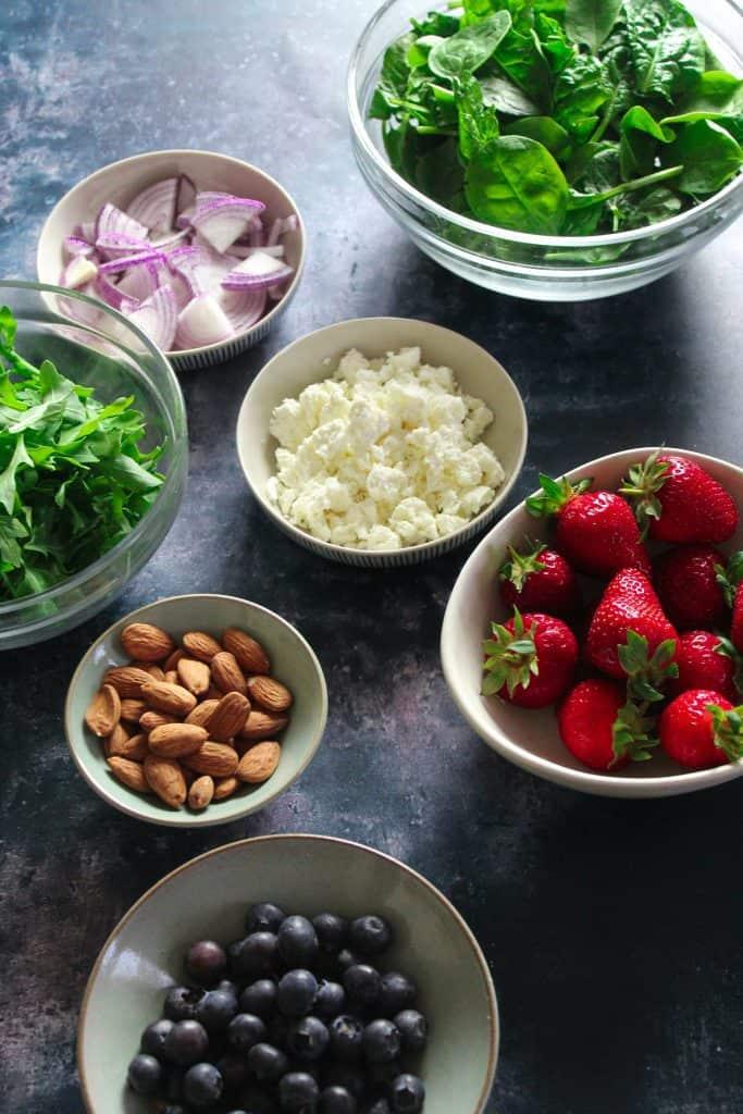 Strawberry Spinach Salad ingredients.