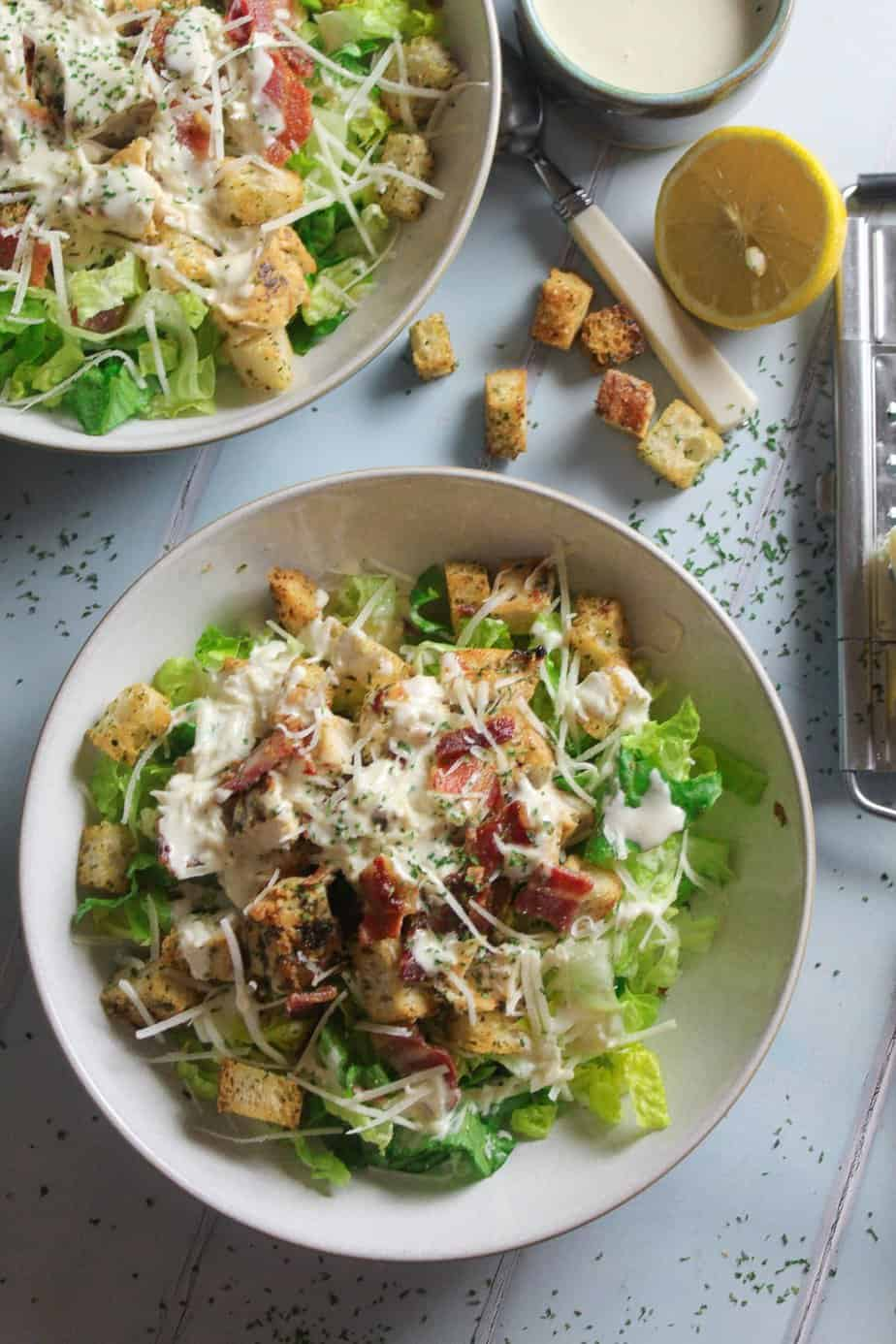 Caesar Salad with Easy Homemade Dressing, Chicken and Bacon
