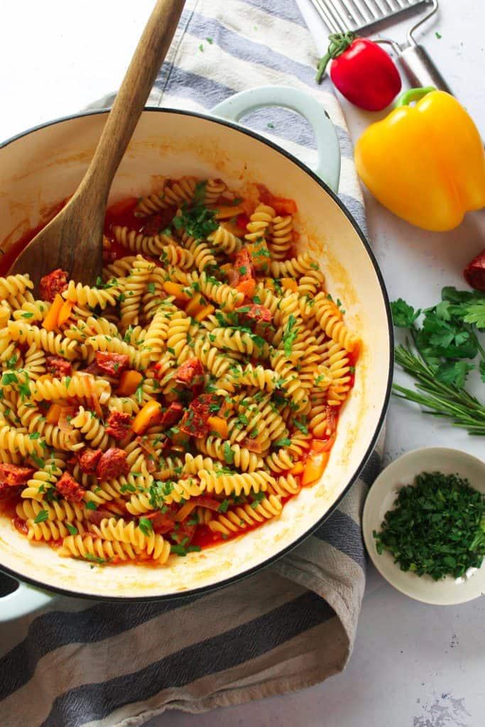 Easy Mediterranean Style Chorizo Pasta