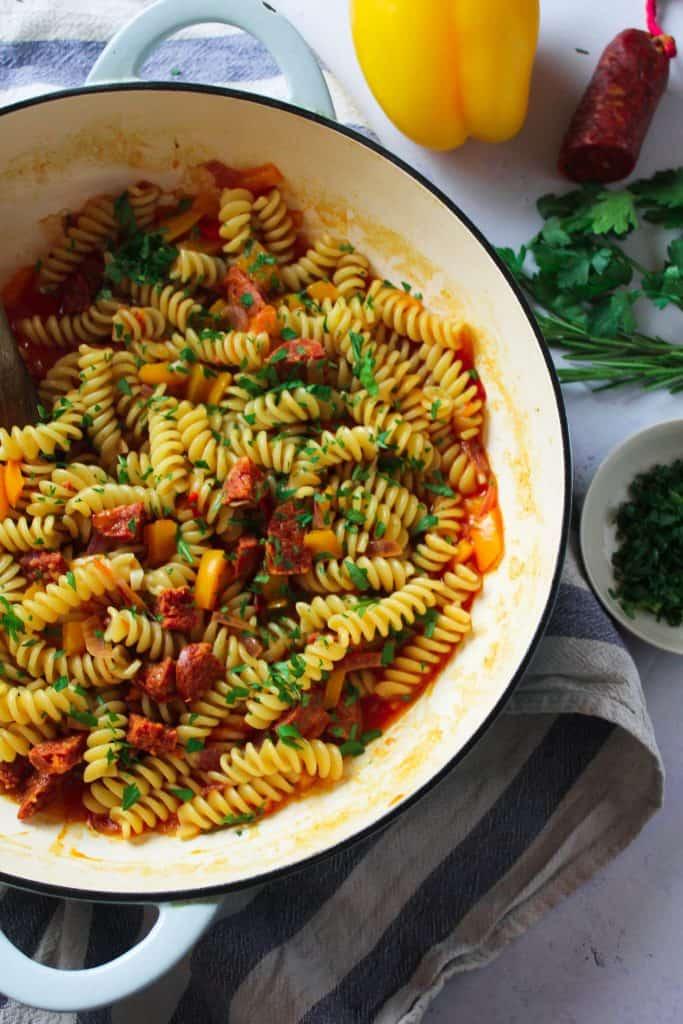 Easy One-Pot Chorizo and Pepper Pasta