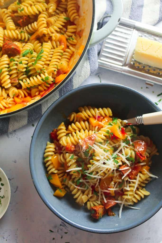 Easy Chorizo Pasta with Peppers and Tomato
