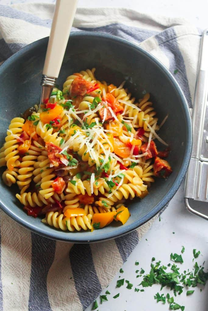 Chorizo Pasta with Peppers and Tomatoes