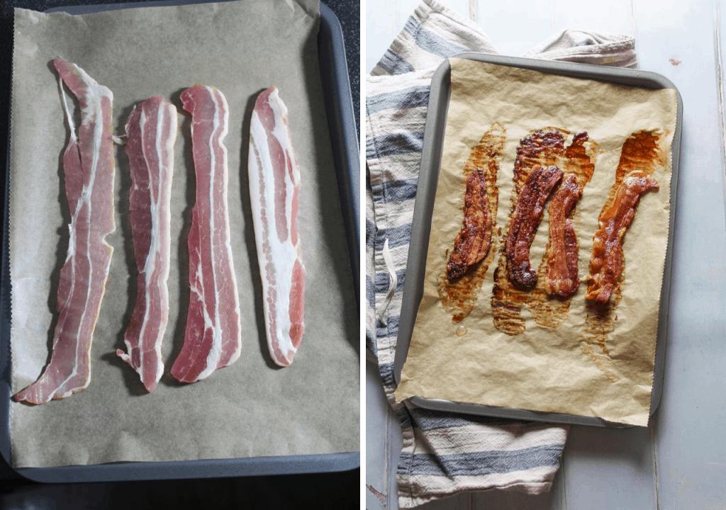crispy bacon on a baking tray