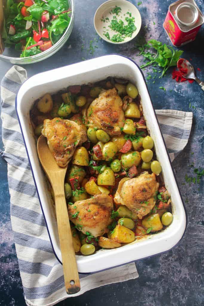 Chicken and Chorizo traybake with Potatoes and Olives