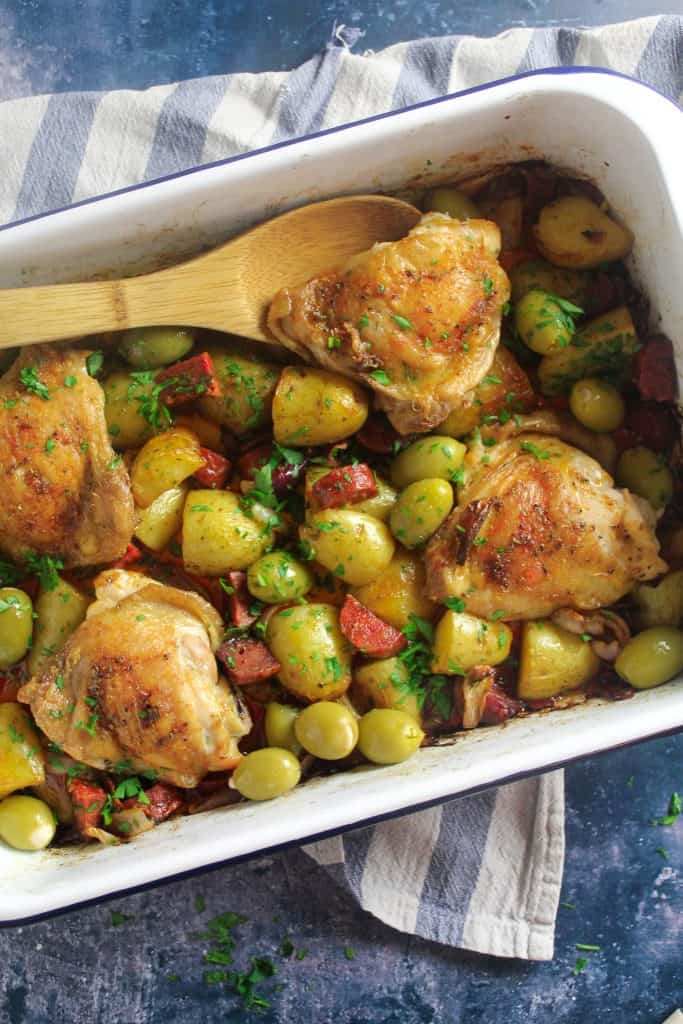 Spanish style baked chicken with potato and chorizo