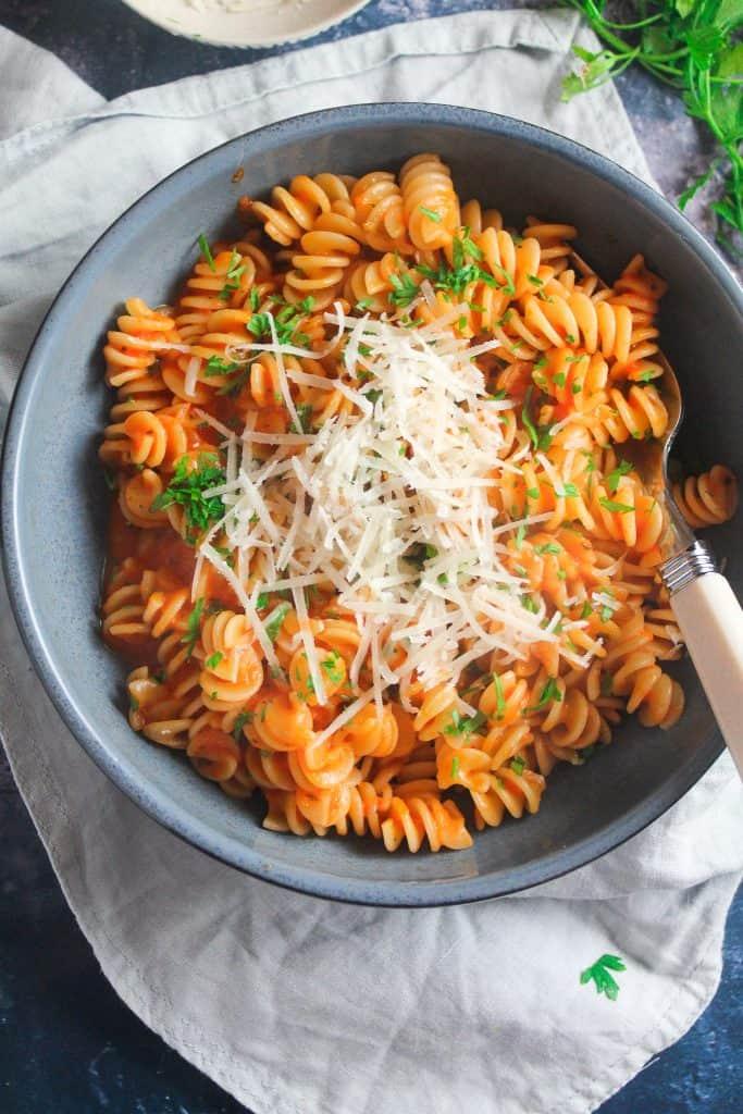 close up of pasta