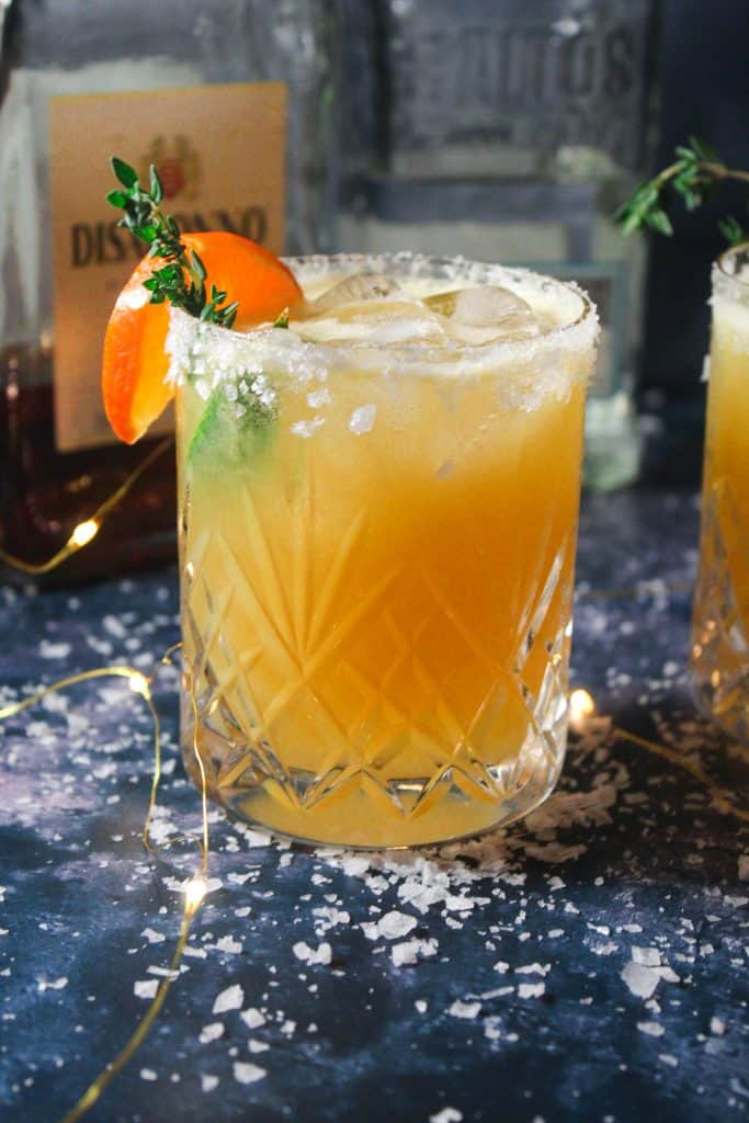 Amaretto and Orange Margarita in a crystal glass with fairy light