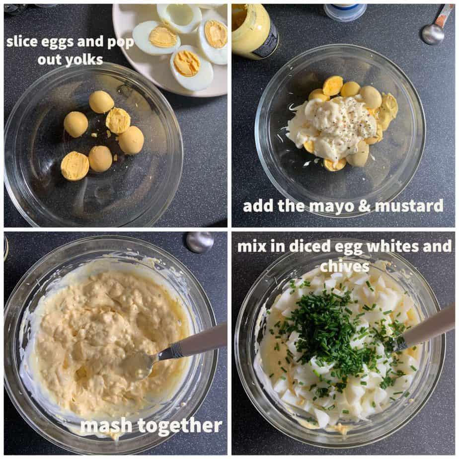 process shots of egg mayonnaise
