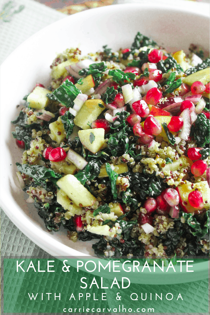 Kale and Pomegranate Salad with Apple and Quinoa