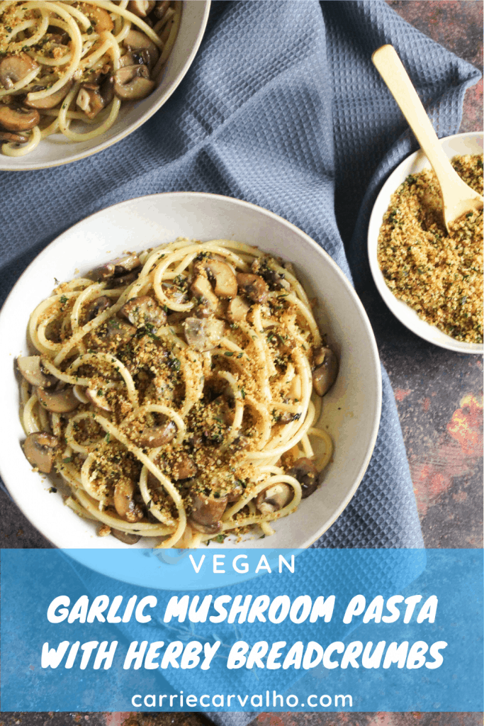 vegan mushroom pasta pinnable image