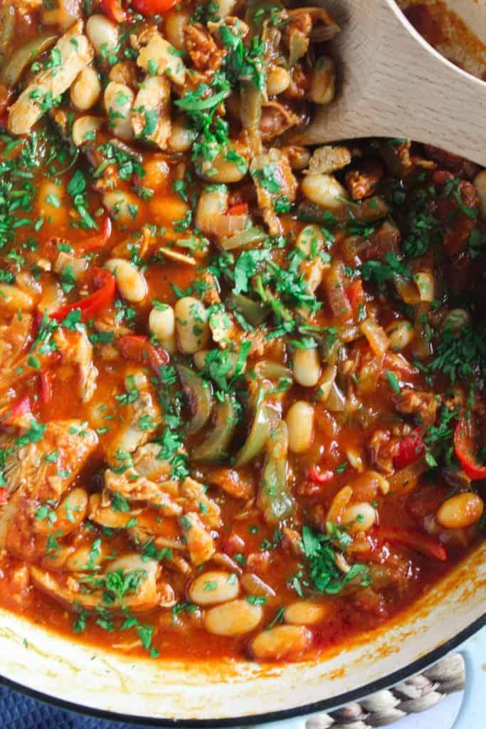 Close up shot of chicken and chorizo stew