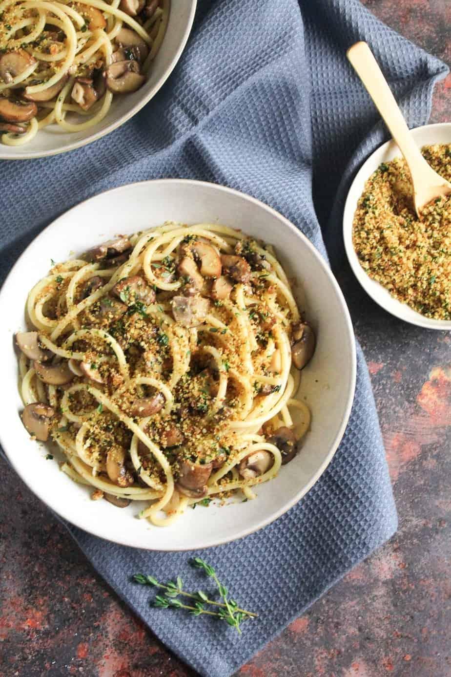 Garlic Mushroom Pasta with Herby Breadcrumbs | Vegan, Dairy Free