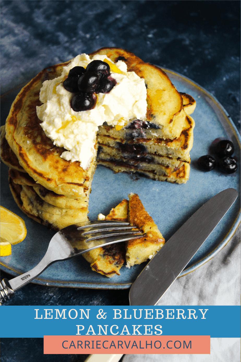 Lemon Blueberry Pancakes with Lemon Mascarpone