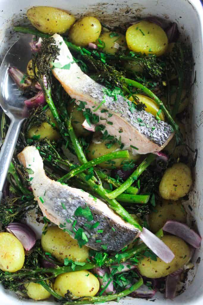 Salmon, Potato and Broccoli Traybake with Wholegrain Mustard Dressing
