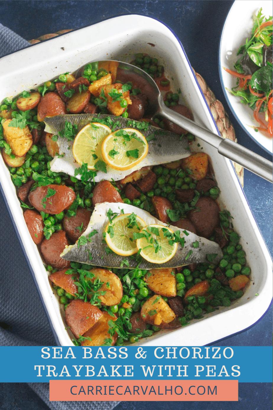 Sea Bass and Chorizo Traybake with Peas and Potato