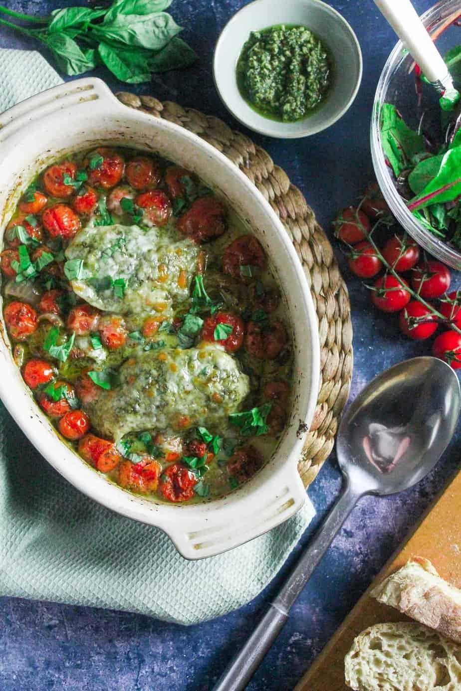 Pesto Chicken Traybake with Tomato and Mozzarella