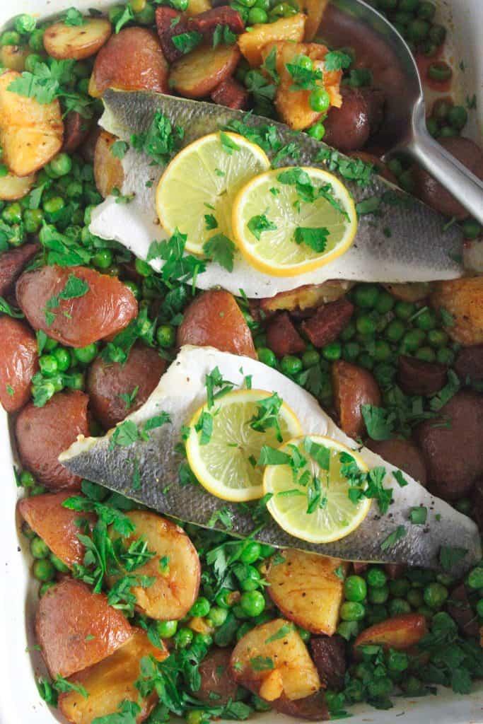 Close up of sea bass and chorizo traybake