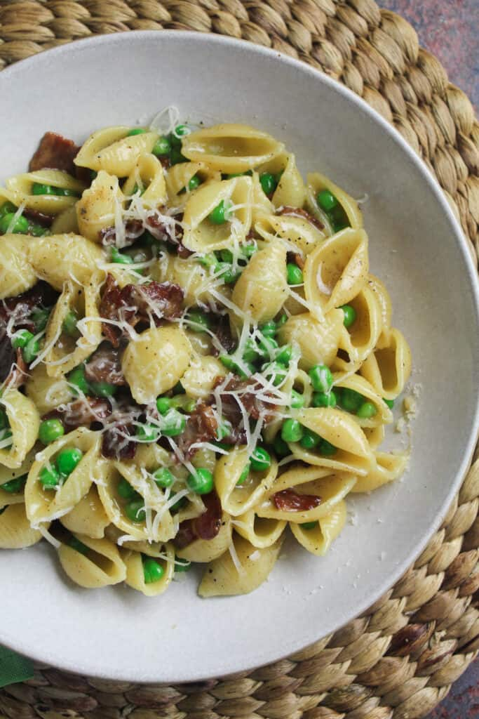 Close up of Bacon and Pea Pasta.