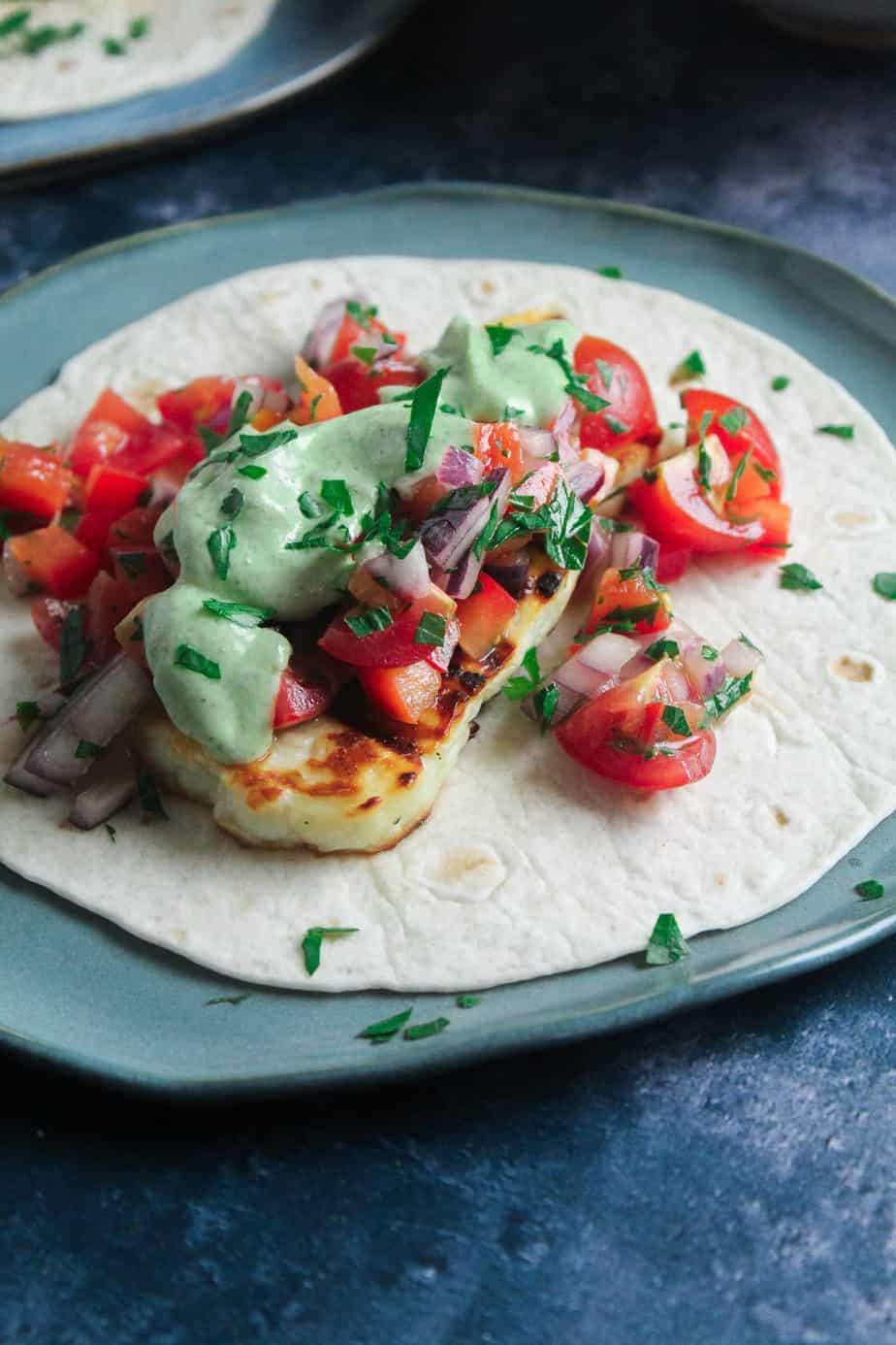 Halloumi Tacos with Avocado Ranch