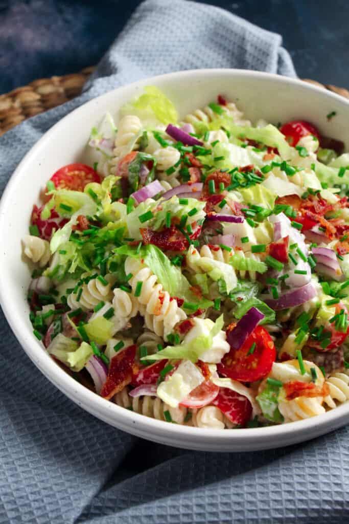 Close up of BLT Pasta Salad