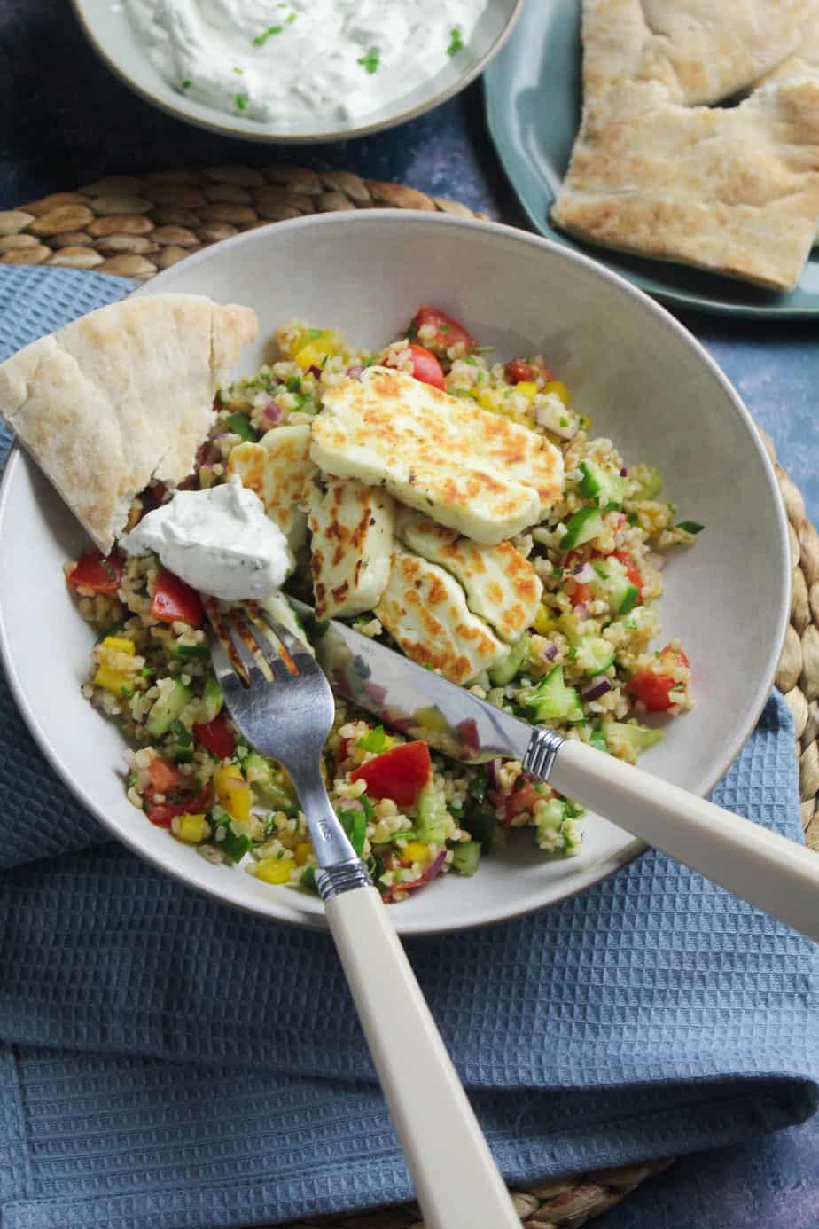 Mediterranean Halloumi and Bulgur Wheat Salad