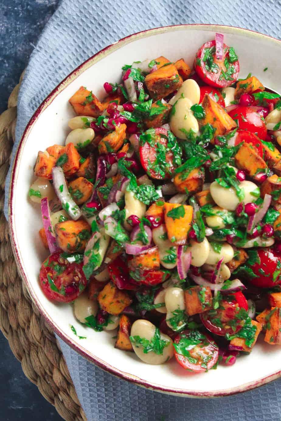Roast Sweet Potato Salad with Pomegranate and Tomato