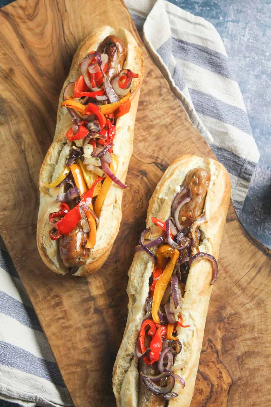 Sausage Sandwiches with Roast Peppers and Onion